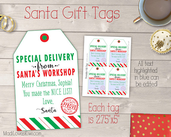 picture relating to Printable Santa Gift Tags titled Exceptional Shipping and delivery in opposition to Santas Workshop Editable Xmas