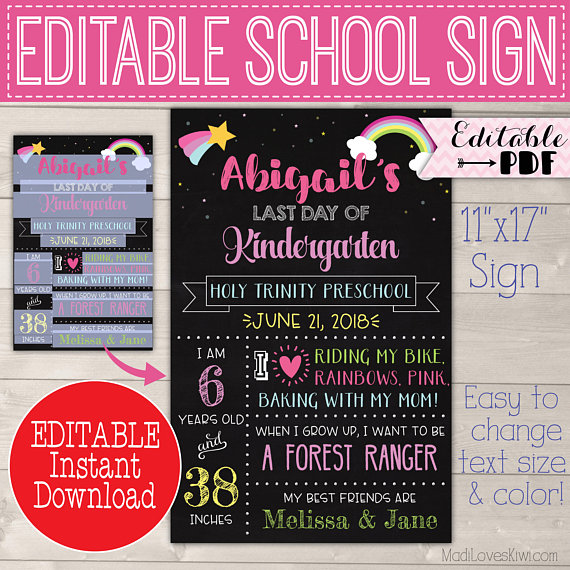 Rainbow First Day of School Sign Reusable, Last Day Chalkboard Photo Prop Instant Download, Printable Girl Poster PDF Template, Back 1st End