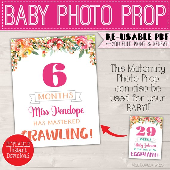 Weekly Pregnancy Sign Editable, Baby Monthly Photo Prop, Baby Month Signs Printable Pregnancy Week By Week, Printable Pregnancy Photo Prop