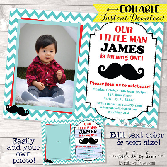 Little Man Birthday Invitation, Mustache Birthday Invitation Boy, Little Gentleman Birthday Party Boy, Little Man Birthday Invitation