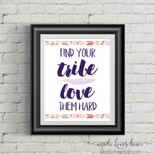 Find Your Tribe Love Them Hard, Boho Nursery Decor Digital, Crunchy Mama, Inspirational Quote, Dorm Wall Art, Home Typography, Office Saying