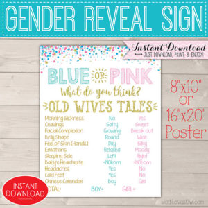 Blue or Pink Gender Reveal Sign, Digital Old Wives Tales Sign, Baby Decor Party Ideas, Vote Board, Team Pink Blue Wife Printable Decorations