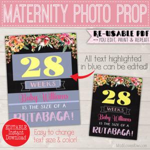 Boho Pregnancy Chalkboard Sign Editable, Pregnancy Week By Week Chalkboard, Pregnancy Weekly Photo, Maternity Sign, DIY Pregnancy Photo Prop