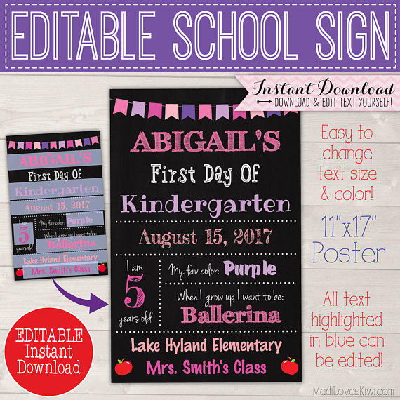 1st Day of School Sign Reusable, First Day Photo Prop, Last Day Editable PDF, End of Year Printable, Back to Class Digital Chalkboard Poster