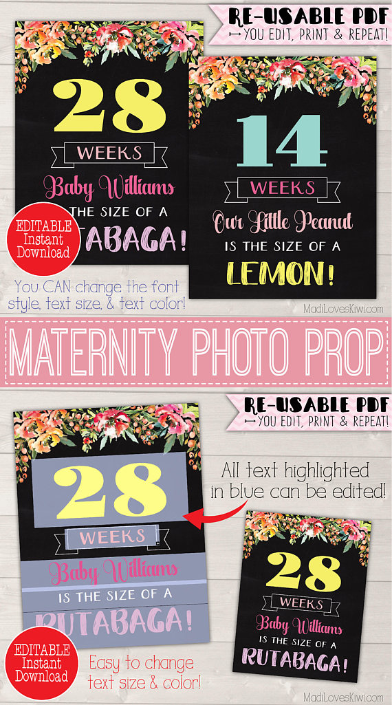 Boho Pregnancy Chalkboard Sign Editable, Pregnancy Week By Week Chalkboard, Pregnancy Weekly Photo, Maternity Sign, DIY Pregnancy Photo Prop