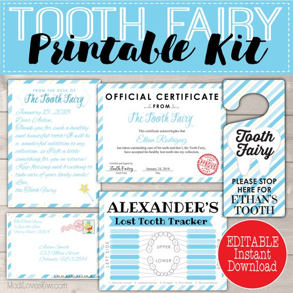 image relating to Free Printable Tooth Fairy Letter known as Blue Enamel Fairy Package for Boys Printable Letter, Doorway