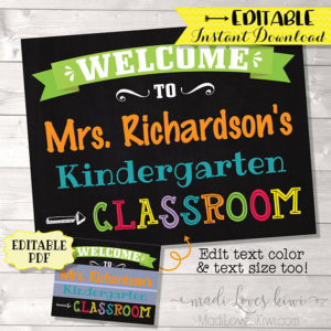 Classroom Welcome Sign, Personalized Teacher Name Gift Ideas Digital, Class Room Chalkboard Decor Printable Back To School Wall Art Door PDF