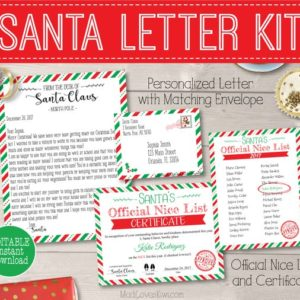 Personalized Santa Letter Kit, Custom Letter from Santa, Santa Letter Template, North Pole Letter, Nice List Certificate, Santa's Nice List