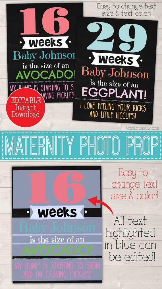Personalized Weekly Pregnancy Milestone Chalkboard, Bump Fruit Comparison Printable, Chalkboard Maternity Photo Prop Digital Milestones Sign