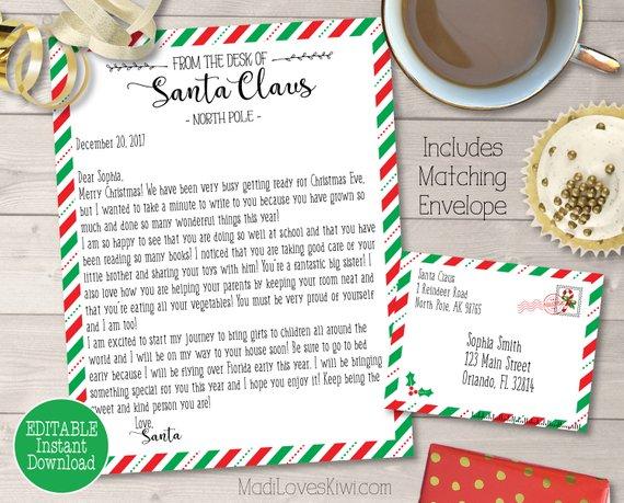 Personalized Santa Letter Kit, Custom Letter from Santa, Santa Letter Template, North Pole Letter, Nice List Certificate, Santa's Nice List
