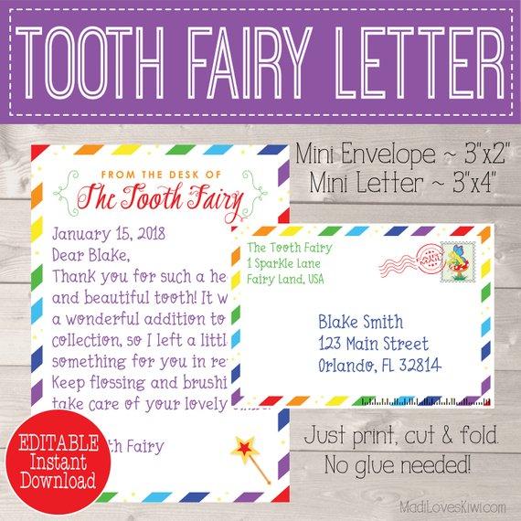 Rainbow Tooth Fairy Letter, Tooth Fairy Keepsake, First Lost Tooth Card, Tooth Fairy Note, Letter from Tooth Fairy Gift Tooth Fairy Envelope