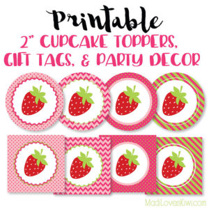 Strawberry Birthday Party Decor, Strawberry Birthday Party Gift Tags, Strawberry Cupcake Toppers, Strawberry Gift Tags, Birthday Party Decor