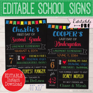 First Day of School Sign Reusable, Last Day Chalkboard Photo Prop Instant Download, Printable Primary Color Poster PDF Template Back 1st End