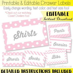 Printable Drawer Labels, Drawer Organizer, Basket Tags, Bin Labels, Nursery Organization, Closet Organizer, Closet Labels, Basket Labels
