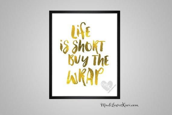 Life Is Short Buy The Wrap, Babywearing Art, Crunchy Mama, Nursery Decor, Babywearing Print, Baby Wearing, Crunchy Mom, Nursery Wall Art