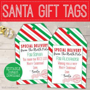 Personalized Santa Gift Tag Printable, Printable Christmas Gift Tag Template, Personalized Santa Tag, Personalized Christmas Tags From Santa