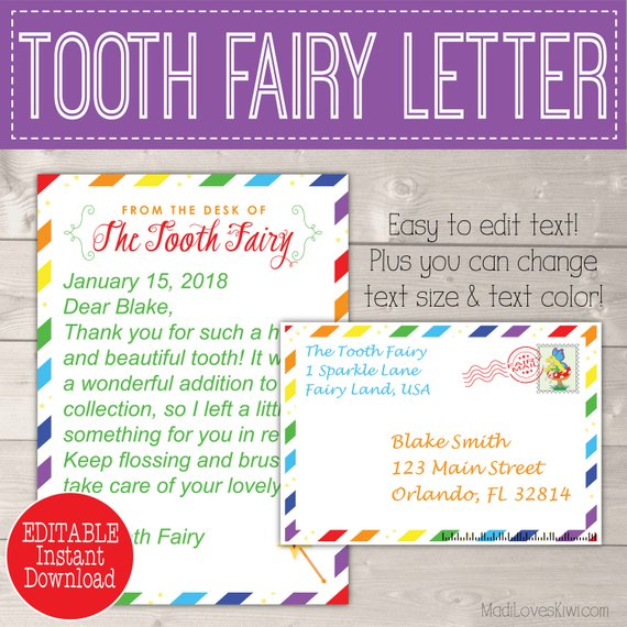Rainbow Tooth Fairy Letter, Tooth Fairy Keepsake, First Lost Tooth Card, Tooth Fairy Note, Letter from Tooth Fairy Gift Tooth Fairy Envelope