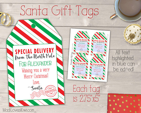 Personalized Santa Gift Tag Printable, Printable Christmas Gift Tag Template, Personalized Santa Tag, Personalized Christmas Tags From Santa