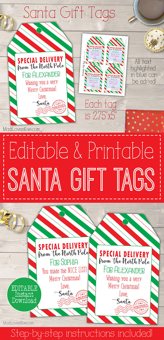 image relating to Printable Santa Gift Tags referred to as Xmas Present Tag against Santa Claus Customized Tags