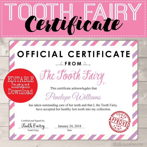 This is a graphic of Inventive Tooth Fairy Certificate Printable Girl