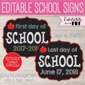 First Day of School Sign Printable, Back to School Sign, Last Day Chalkboard Photo Prop, 1st Day Reusable PDF, Editable End of Year Digital