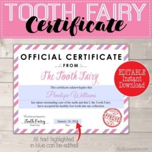 Certificate from Tooth Fairy Printable Letter, Creative Lost Tooth Ideas, First Tooth Kit Template Girl PDF Letterhead Last Minute Gift Idea