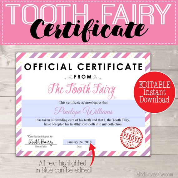 graphic relating to Tooth Fairy Certificate Printable Girl referred to as Formal Teeth Fairy Certification for Women Printable Red