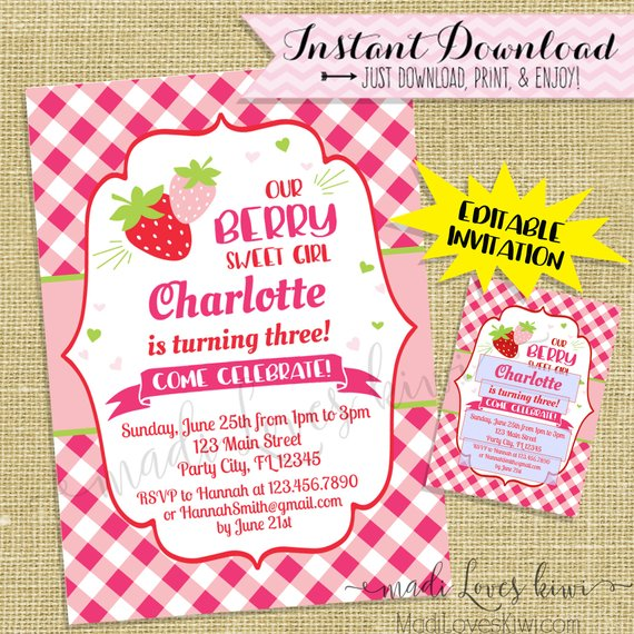 Strawberry Birthday Party Decorations, Birthday Invitations, Cupcake Toppers Printable, Welcome Sign, Thank You Tags, Digital Party Supplies