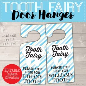 Personalized Tooth Fairy Door Kit Digital, Boy Tooth Printable Gift, Blue Door Hanger, DIY Hanging First Lost Tooth Sign Certificate