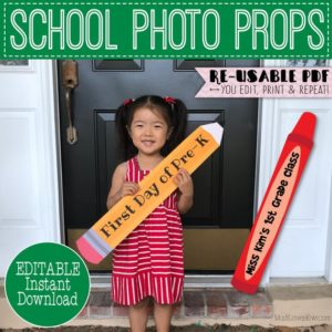 Pencil First Day of School Photo Prop Printable, Crayon 1st Day Sign Reusable, Last Day Editable Booth Digital For Teacher End Year Back to
