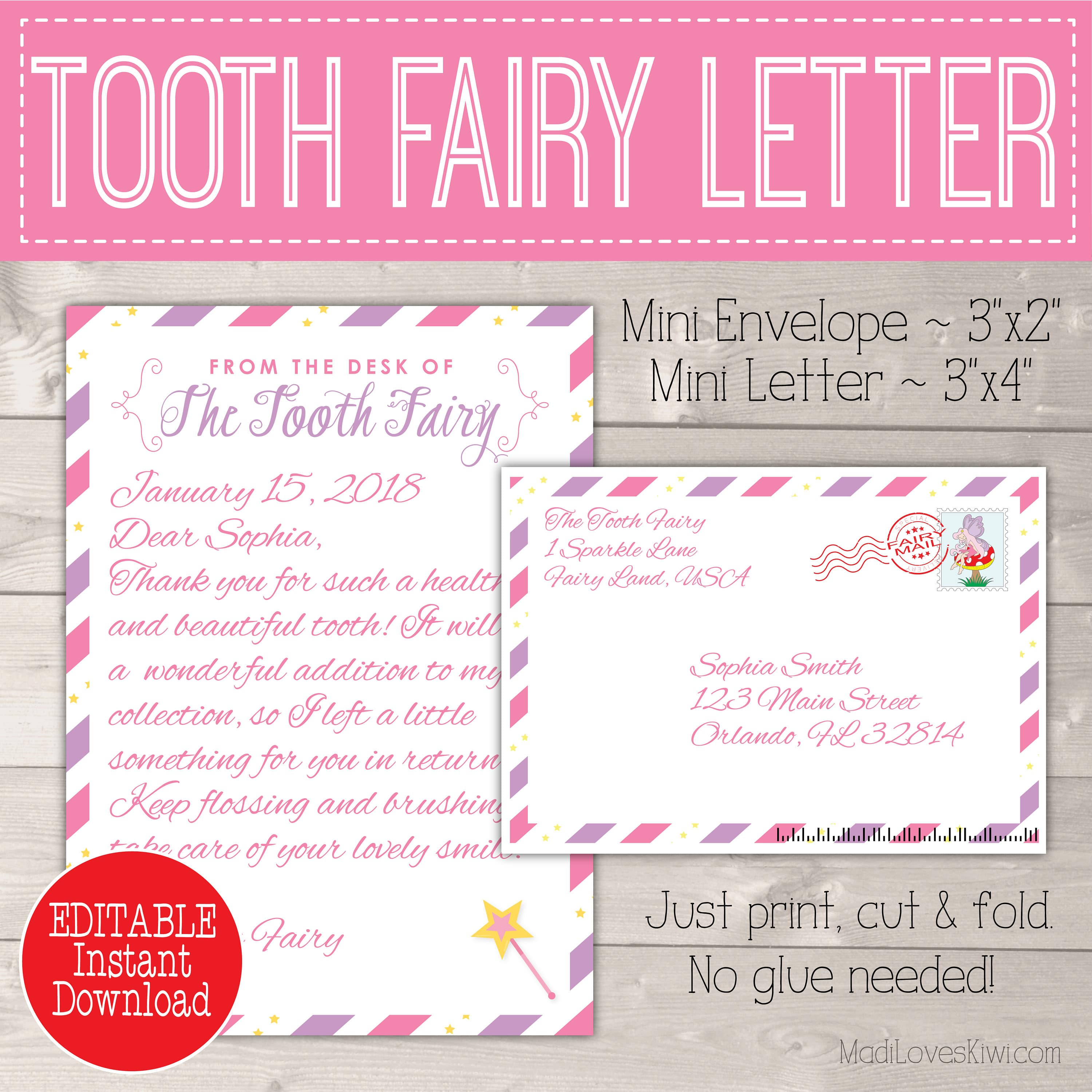 graphic about Free Printable Tooth Fairy Letter and Envelope identify Editable Enamel Fairy Letter with Envelope Printable Crimson