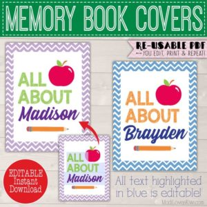 Editable All About Me Memory Book Kit, First Last Day of School, Kids Yearly Interview Questions Childrens Journal Student Back to Scrapbook