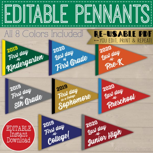 editable first day of school pennant, last day of school pennant photo props