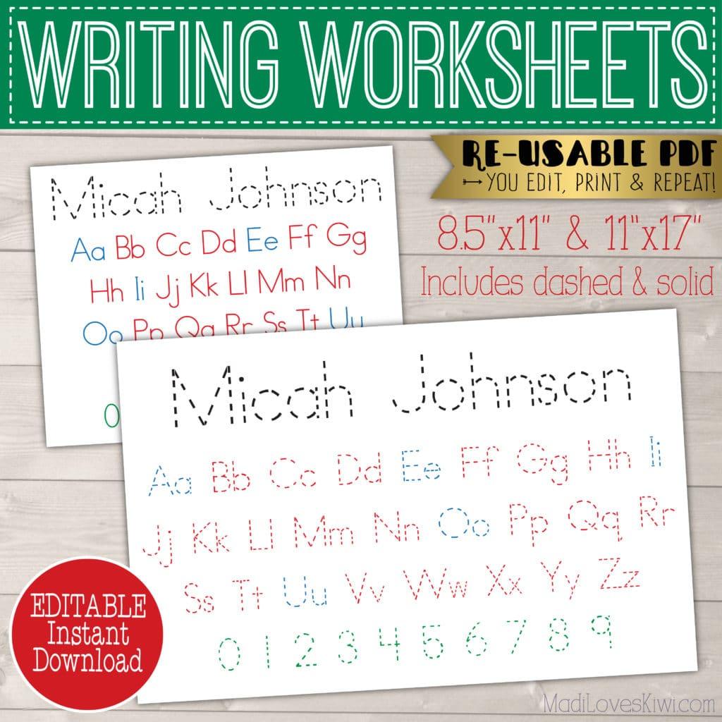 Printable Alphabet Worksheet, Editable Name Placemat ...