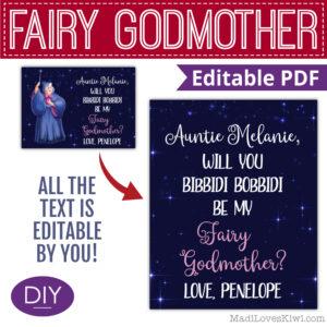 disney cinderella fairy god mother proposal card
